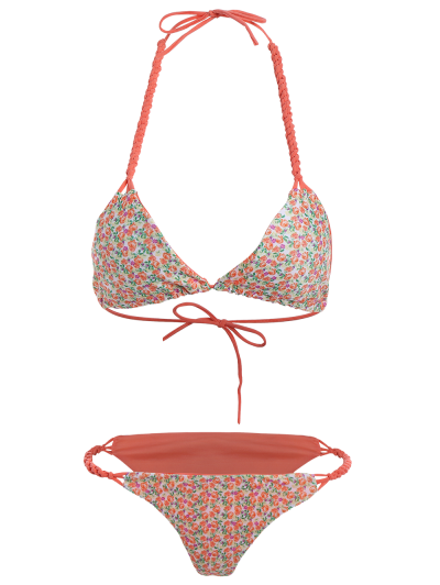 Small Floral Braided String Bikini Set - FLORAL L Mobile