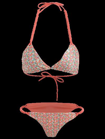 Small Floral Braided String Bikini Set - FLORAL M Mobile