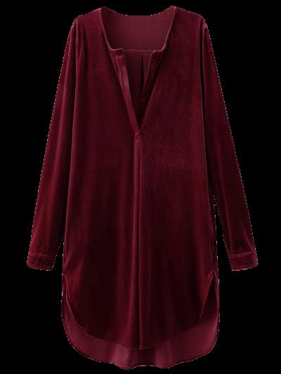 Split Neck Velvet Tunic Dress - BURGUNDY S Mobile
