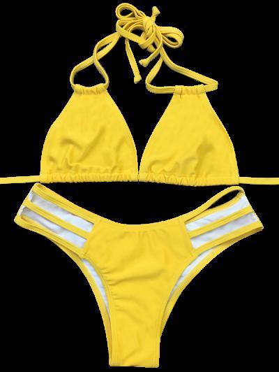 Side Strap Plunge Bikini - YELLOW S Mobile