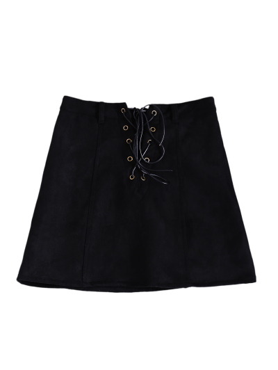 A Line Faux Suede Mini Skirt - BLACK S Mobile
