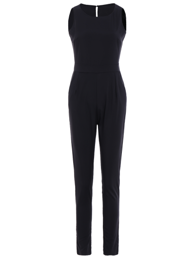 Jewel Neck Black Backless Sleeveless Jumpsuit - BLACK XL Mobile