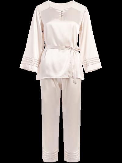 Lace Panel Bowknot Nightwear Pajamas - CHAMPAGNE L Mobile