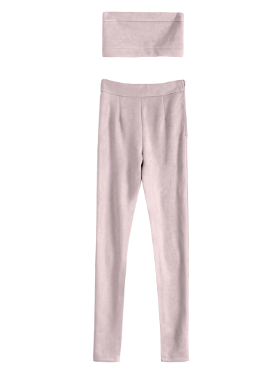 High Rise Suede Pants with Tube Top - PINK L Mobile