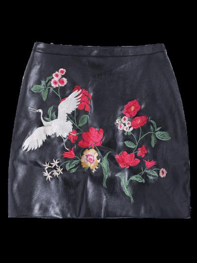 Embroidered PU Leather Mini Skirt - BLACK XL Mobile