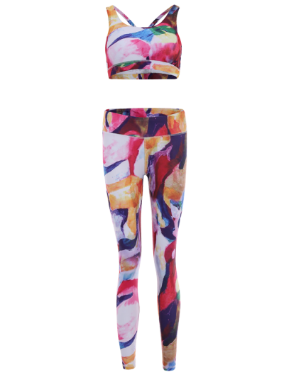 Printed Sports Bra and Leggings Sweat Suit