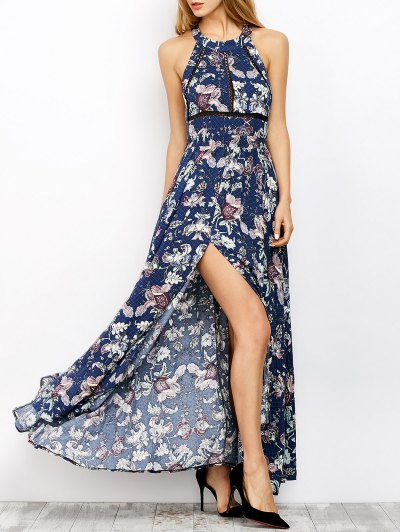 Impresión Floral Maxi Vestido Que Fluye - Azul