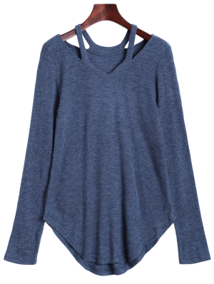 Cut Out Pullover Sweater - Blue Gray