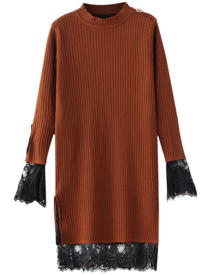 Lace Panel Cut Out Knitting Dress - Ginger