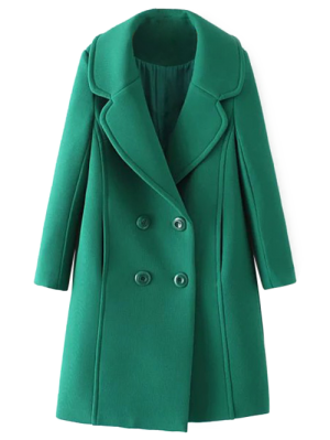 Textured Double Breasted Lapel Coat - Green