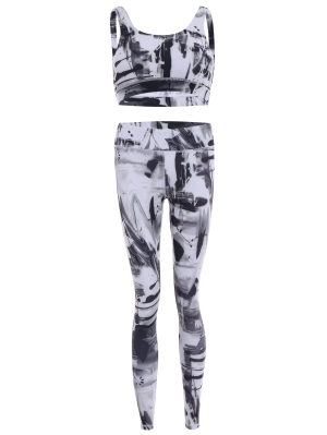 Sports Bra And Leggings Gym Sweat Suit - White