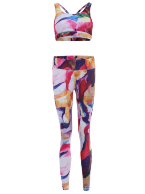 Printed Sports Bra And Leggings Sweat Suit - Rose Red