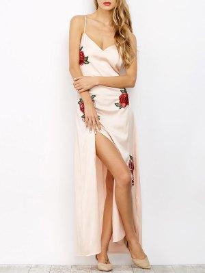 High Slit Floral Slip Maxi Dress - Light Apricot Pink