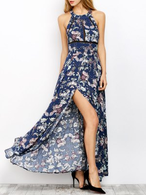 Floral Print Maxi Flowing Dress - Blue