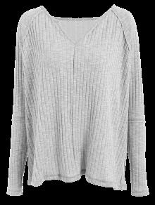 Slit V Neck Ribbed Knitwear - LIGHT GRAY XL