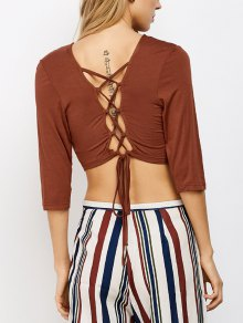 Lace Up Back Criss Cross Crop Top
