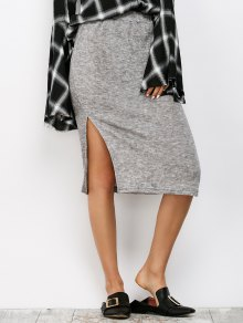 Side Slit Sweater Pencil Skirt