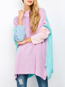 Color Block Oversized Jumper - Purple L