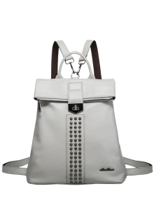 Rivets Faux Leather Backpack - Gray