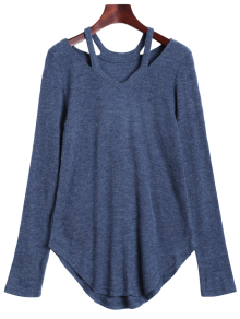 Cut Out Pullover Sweater - Blue Gray S