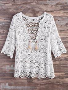 Crochet Lace Up Feather Cover Up