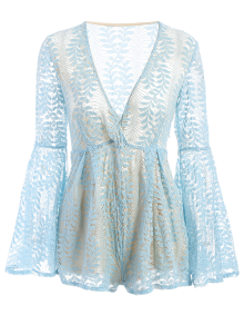 Lace Plunging Neck Flare Sleeve Romper - LIGHT BLUE L