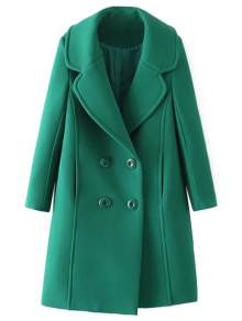 Textured Double Breasted Lapel Coat - Green S