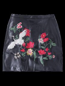 Embroidered PU Leather Mini Skirt BLACK: Skirts | ZAFUL