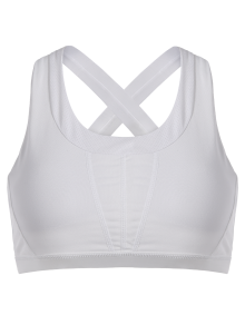 Cross Back Padded Sporty Bra Top - White