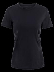 Fishnet Panel Sports T-Shirt - Black