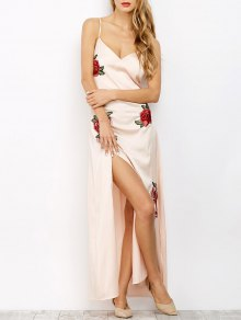 High Slit Floral Slip Maxi Dress