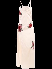 High Slit Floral Slip Maxi Dress - LIGHT APRICOT PINK S