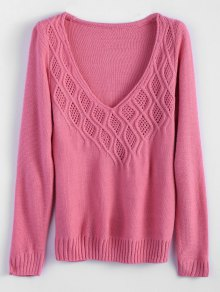 Cable Knit Plunging Neck Tunic Sweater - Pink M