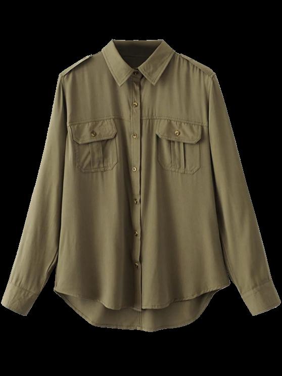 Del botón de camisa de manga encorvada por carretera - Verde del ejército M