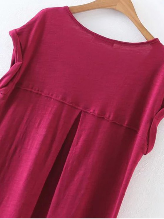 Casual Slit Straight T-Shirt Dress - WINE RED L Mobile