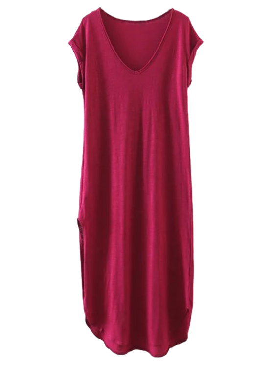 best Casual Slit Straight T-Shirt Dress - WINE RED M