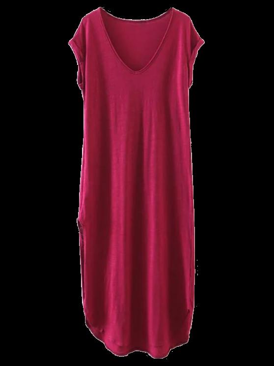 Robe-chemisier casual et  droite avec fentes - Rouge vineux  S