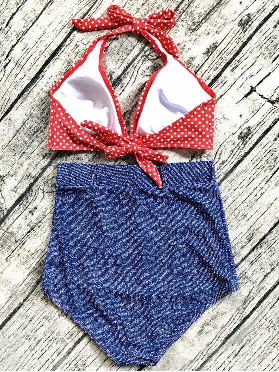 Denim High Waisted Vintage Bikini - BLUE L Mobile