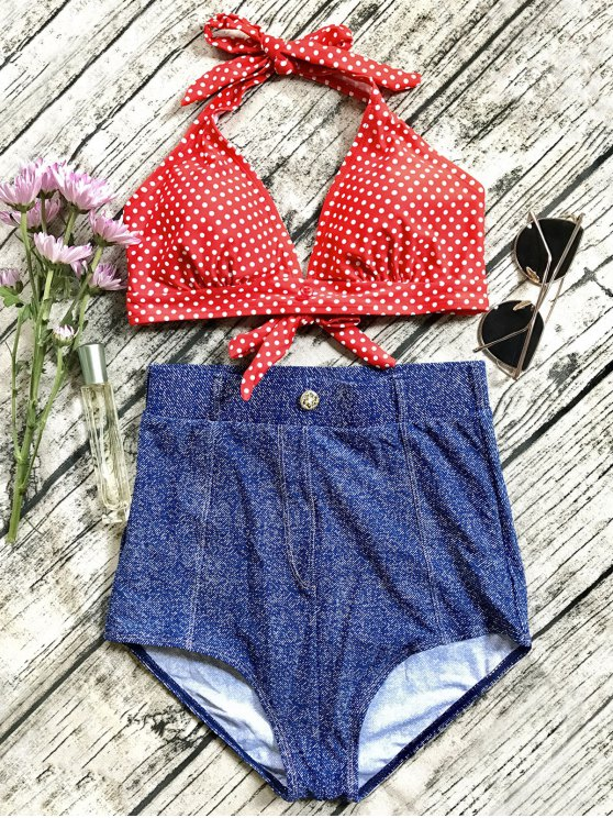 shop Denim High Waisted Vintage Bikini - BLUE L