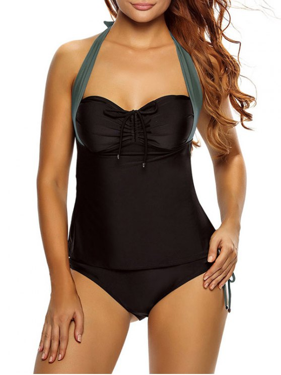 Tankini Top y Loop Tie Side Bottoms - Negro y gris L