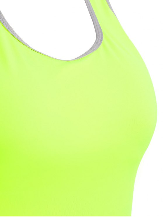 Cross Back Padded Sporty Top - FLUORESCENT YELLOW L Mobile