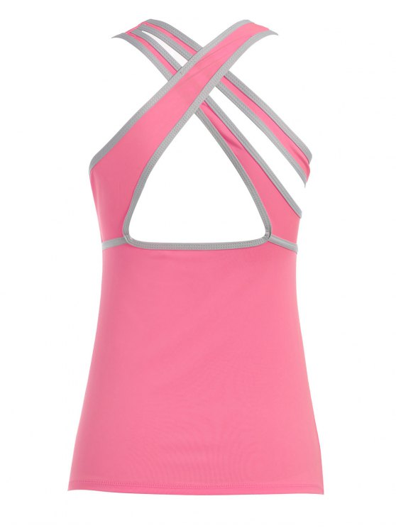 Cross Back Padded Sporty Top - PINK L Mobile