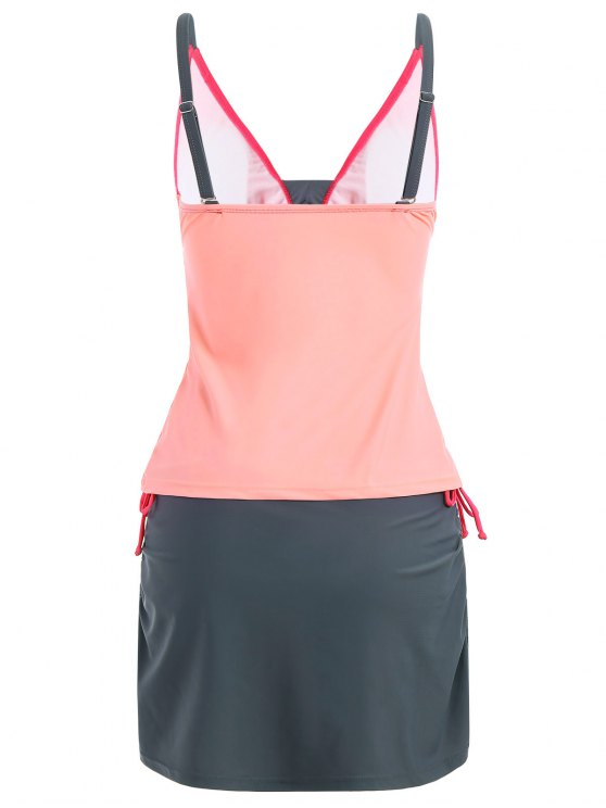 Padded Tankini With Swim Skorts - PINK AND GREY S Mobile