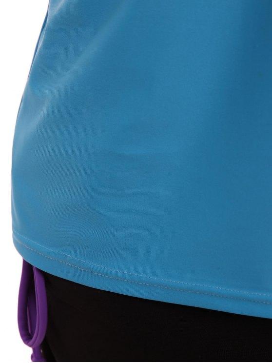 Padded Tankini With Swim Skorts - BLUE + PURPLE M Mobile