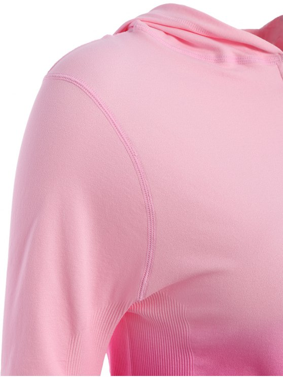 Activewear Ombre Zip Up Hoodie - ROSE RED M Mobile