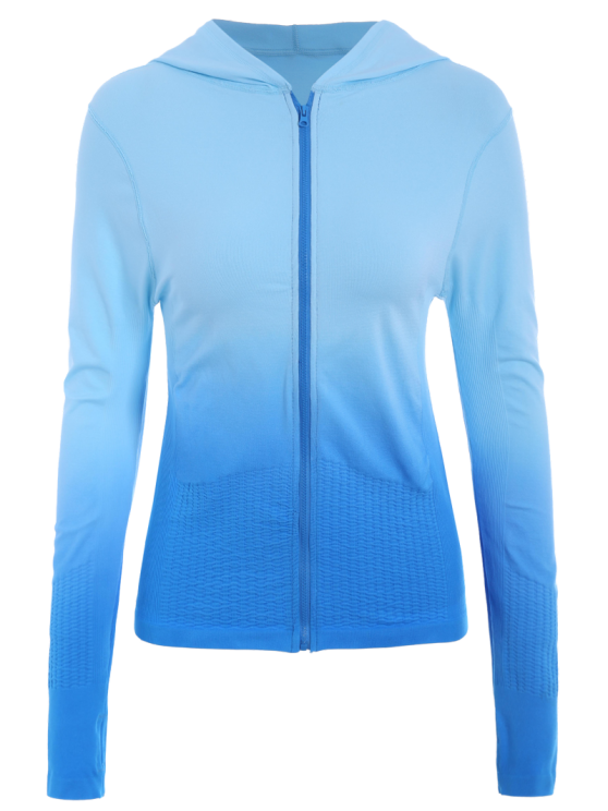 Activewear Ombre Zip Up Hoodie - LAKE BLUE S Mobile