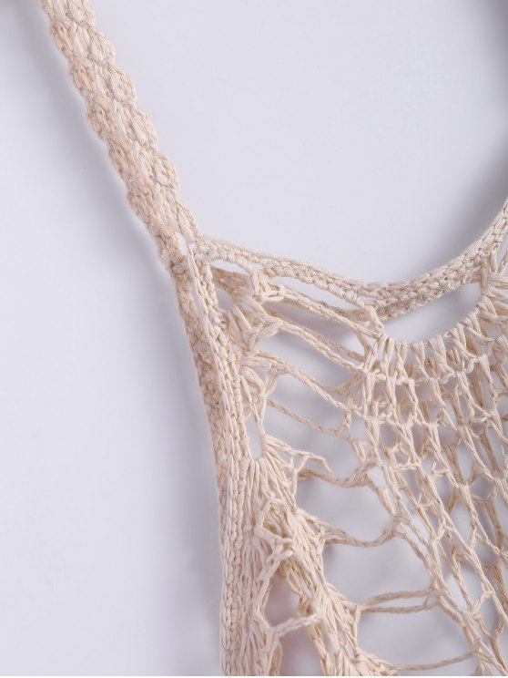 Asymmetric Crochet Cami Cover Up - OFF-WHITE S Mobile