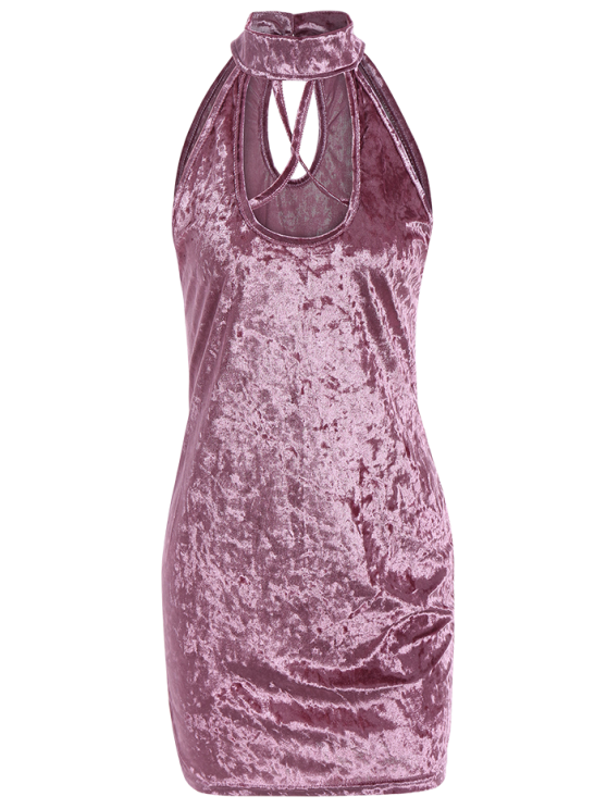 online Crosscriss Velvet Bodycon Dress - PINK M