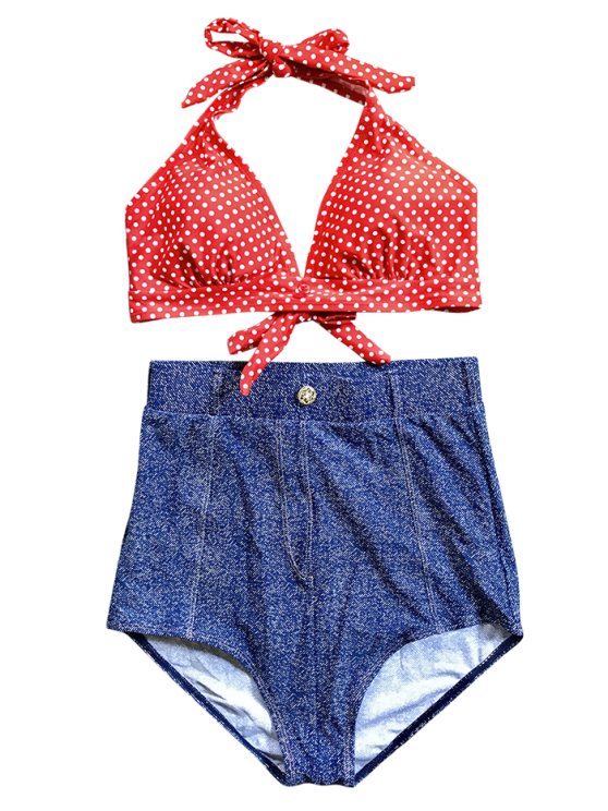 Denim High Waisted Vintage Bikini - BLUE L Mobile