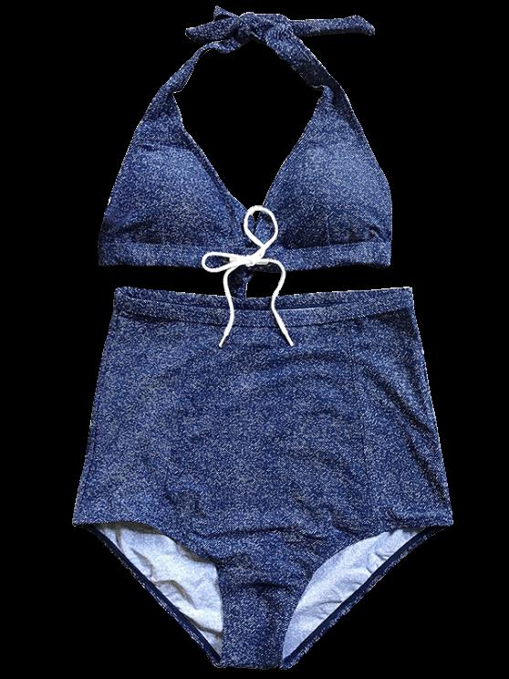 Denim High Waisted Bikini Set - BLUE XL Mobile